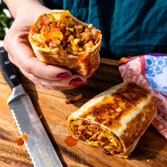 Breakfast Burritos with Chorizo and Crispy Potatoes