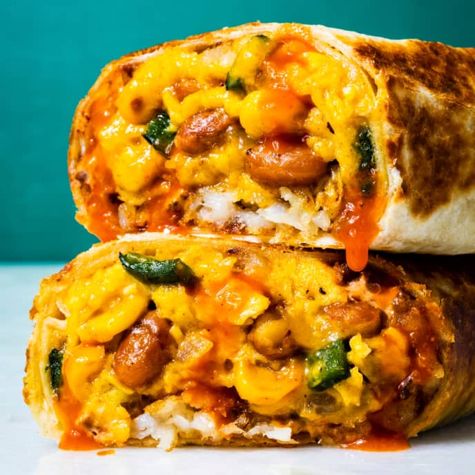 Breakfast Burritos with Poblano, Beans, Corn, and Crispy Potatoes