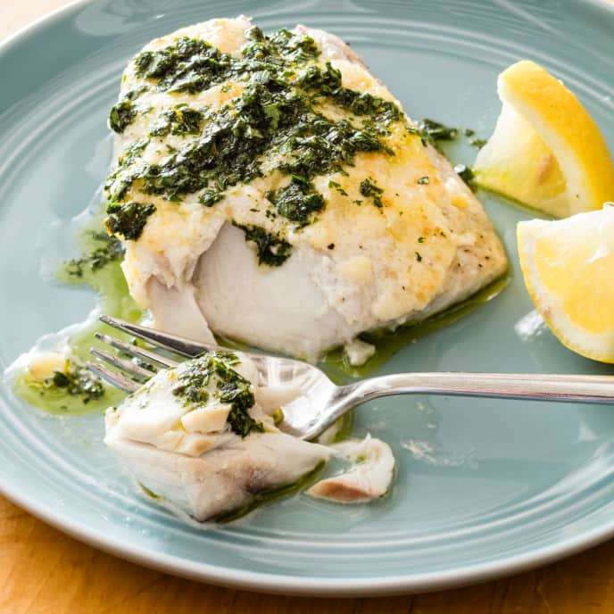 Broiled Bluefish with Preserved Lemon and Zhoug