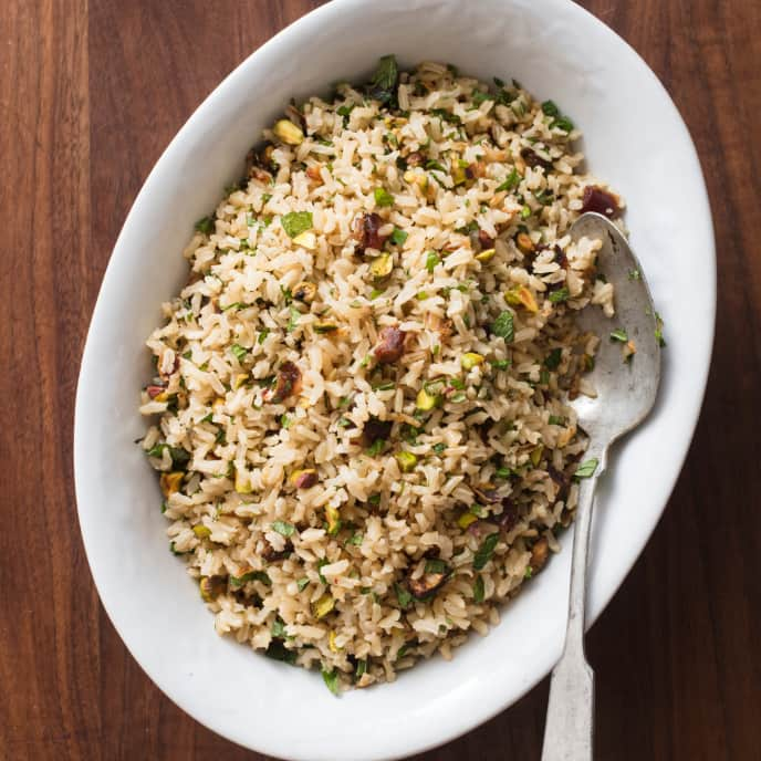 Brown Rice Pilaf with Dates and Pistachios