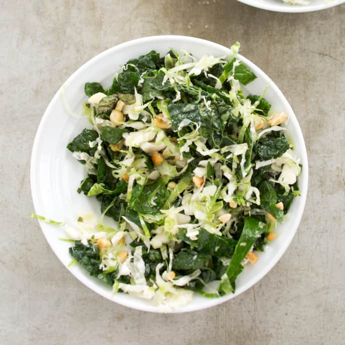 Brussels Sprout and Kale Slaw with Herbs and Peanuts
