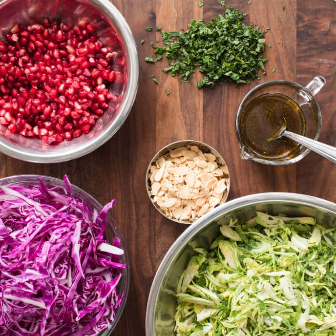 Brussels Sprout and Red Cabbage Slaw