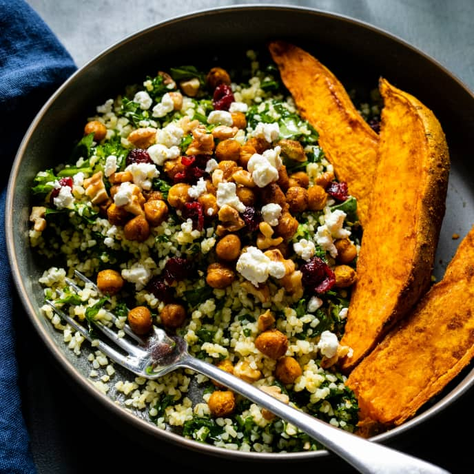 Bulgur Salad with Curry Roasted Sweet Potatoes and Chickpeas