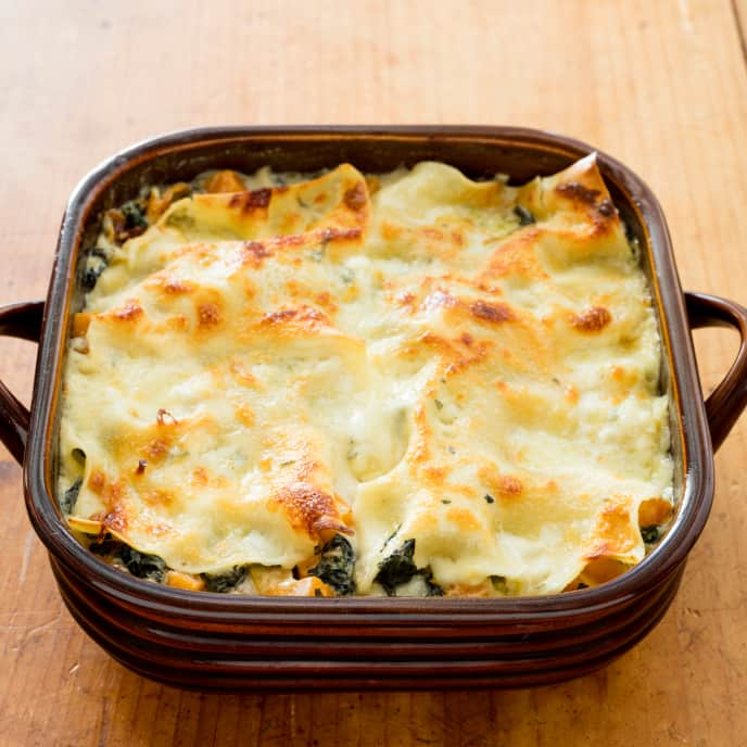 One-Pan Cheesy Butternut Squash and Swiss Chard Lasagna