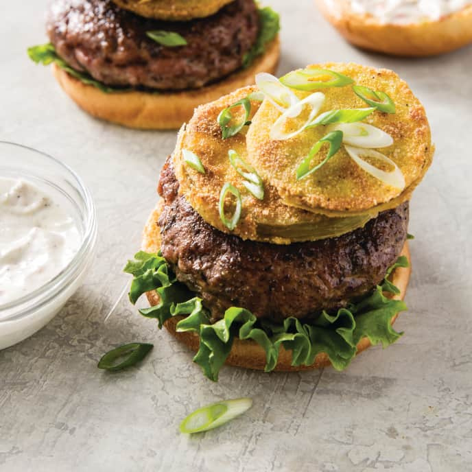 Jerk Spice-Rubbed Turkey Burgers with Fried Green Tomatoes