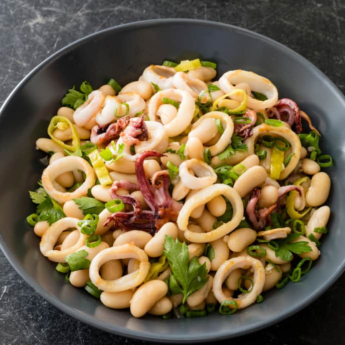 White Bean Salad with Sauteed Squid and Pepperoncini