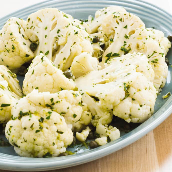 Slow-Cooker Braised Cauliflower With Lemon-Caper Dressing