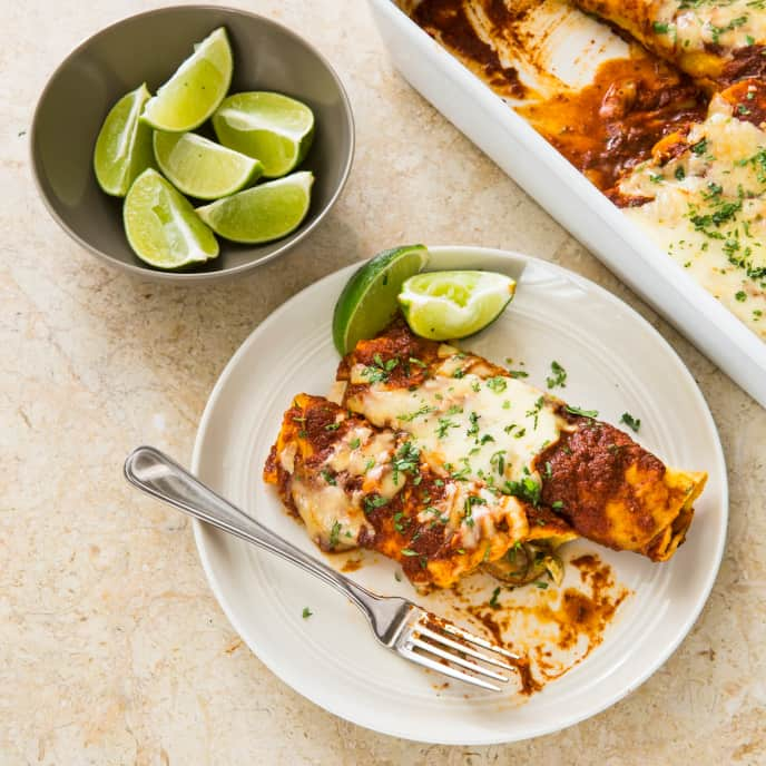 One-Pan Spicy Chorizo and Poblano Enchiladas