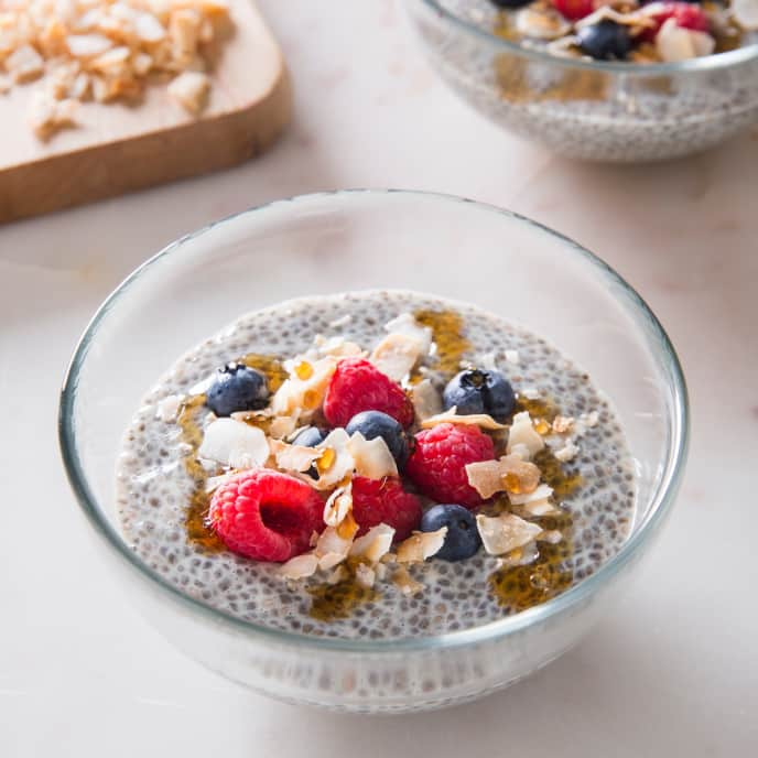 Vegan Chia Pudding with Fresh Fruit and Coconut