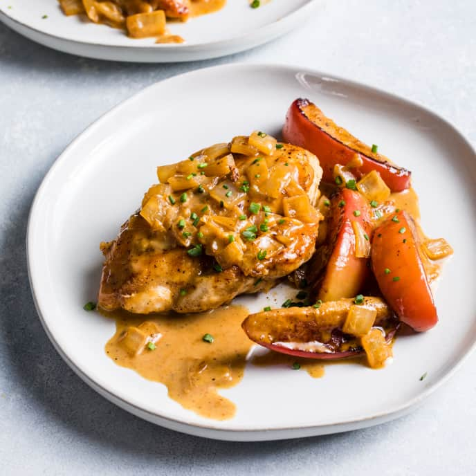 Chicken Fricassee with Apple for Two