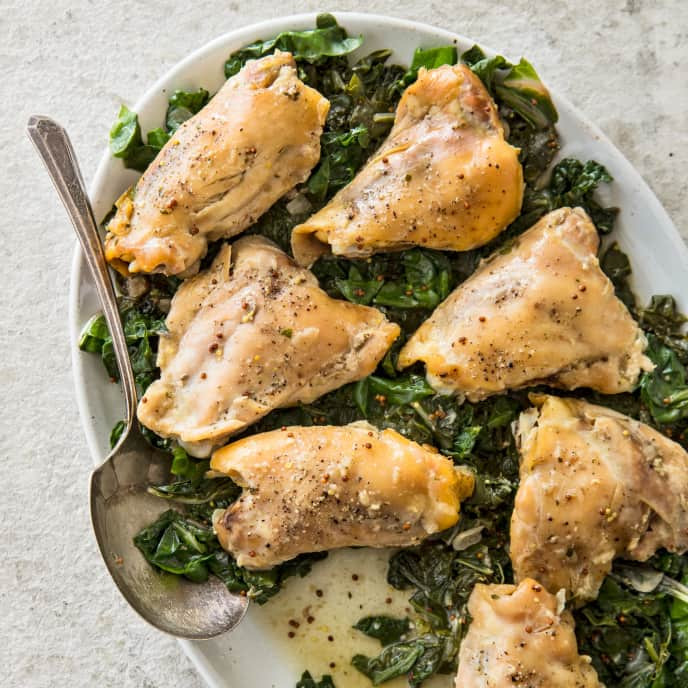 Slow-Cooker Chicken Thighs With Swiss Chard and Mustard