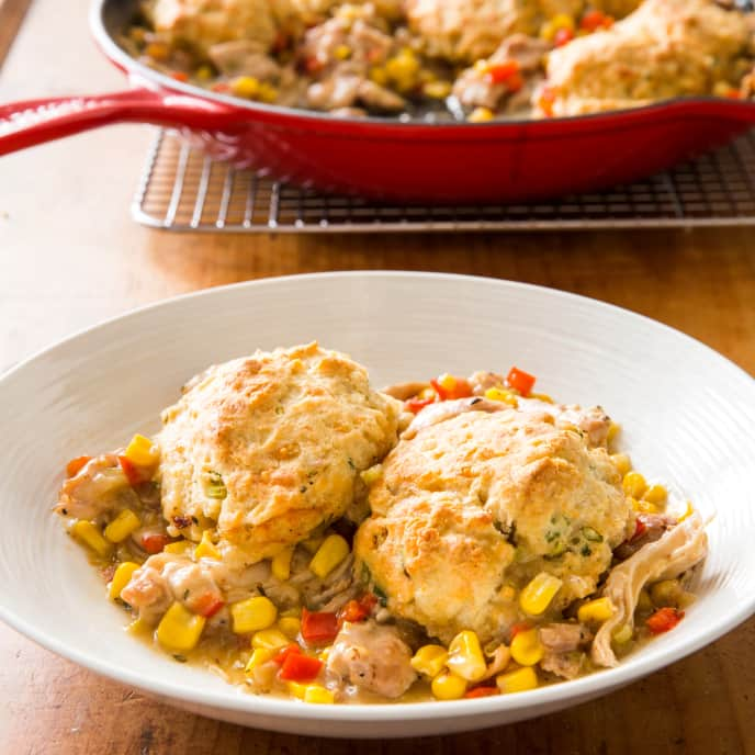 Cast Iron Southwestern-Style Chicken and Biscuits