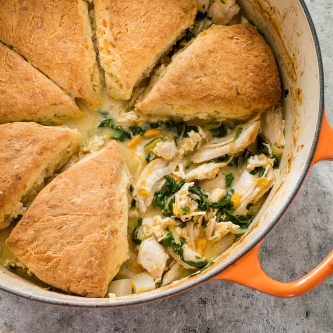 One-Pot Chicken Stew with Cheddar Biscuits