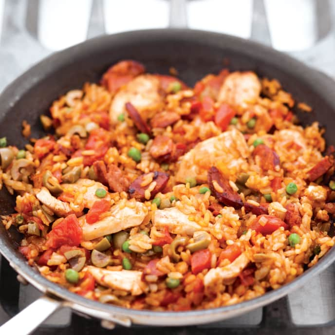 Paella with Chicken, Chorizo, and Olives for Two