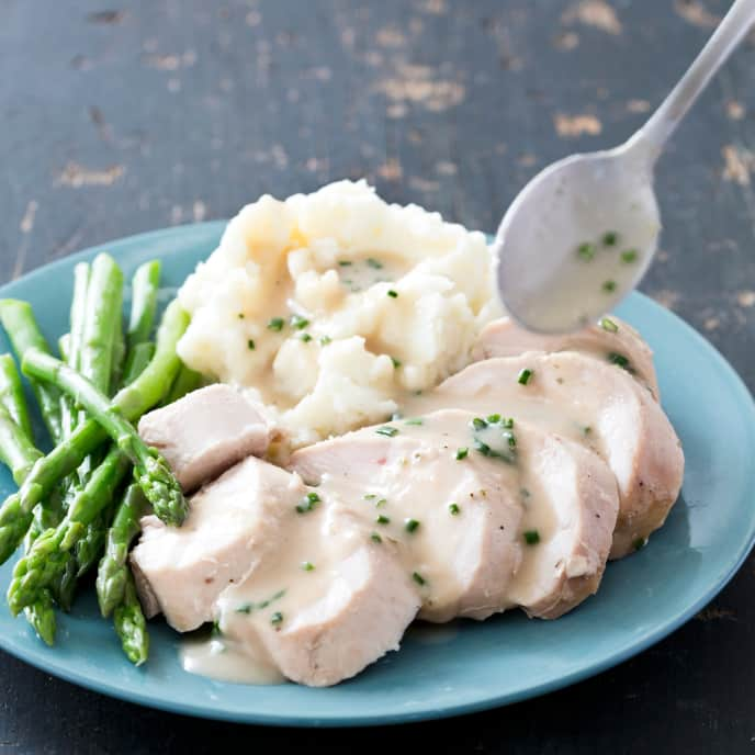 "Slow-Cooker Chicken With ""Roasted"" Garlic Sauce"