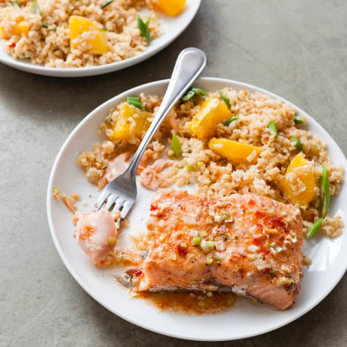 Slow-Cooker Chili-Garlic Glazed Salmon With Brown Rice Salad