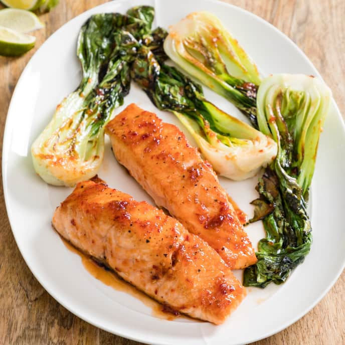 Chili-Glazed Salmon with Bok Choy for Two