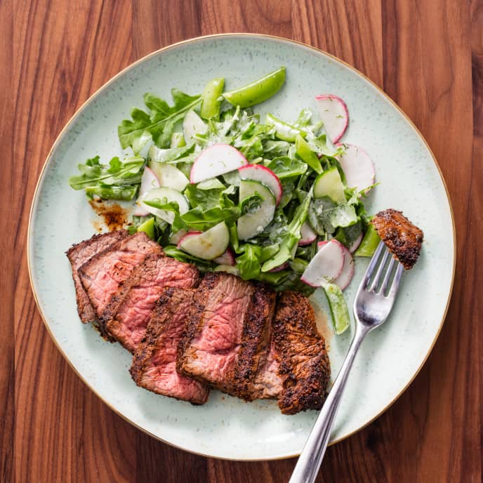 Air-Fryer Spice-Rubbed Steaks with Snap Pea and Cucumber Salad