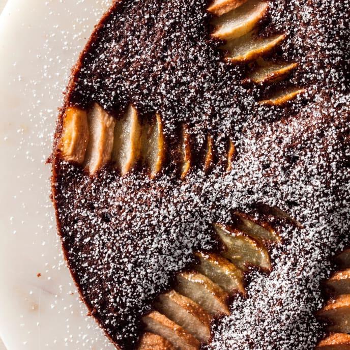 Chocolate-Cardamom Cake with Roasted Pears