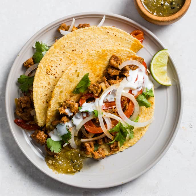 Chorizo and Bell Pepper Tacos with Salsa Verde