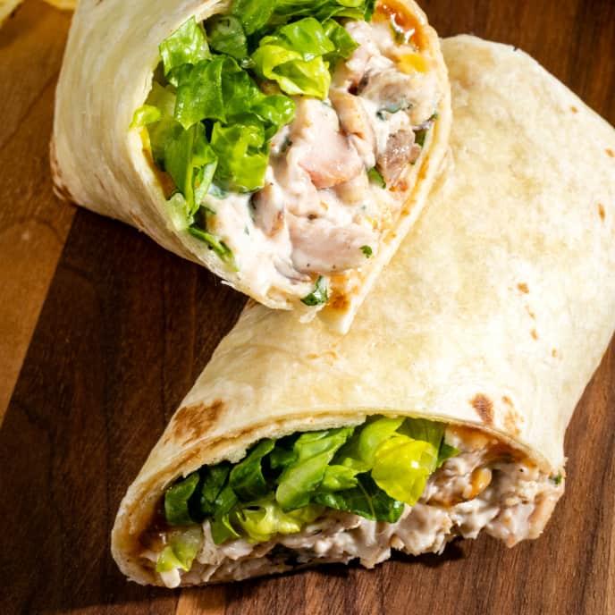 Cilantro-Lime Turkey Salad Wraps with Mango Chutney