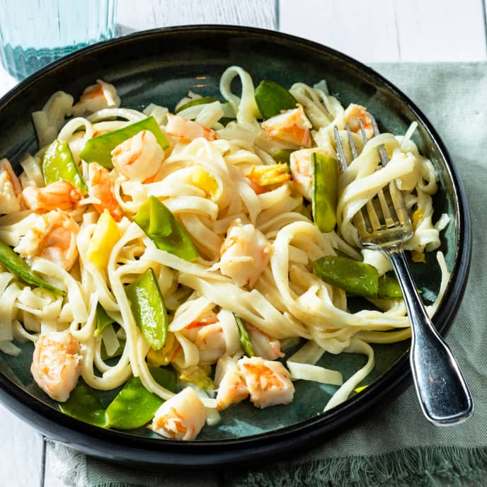 Coconut Rice Noodles with Shrimp and Snow Peas