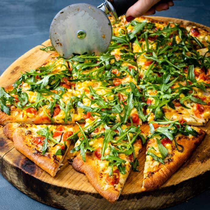 Corn, Tomato, and Arugula Pizza