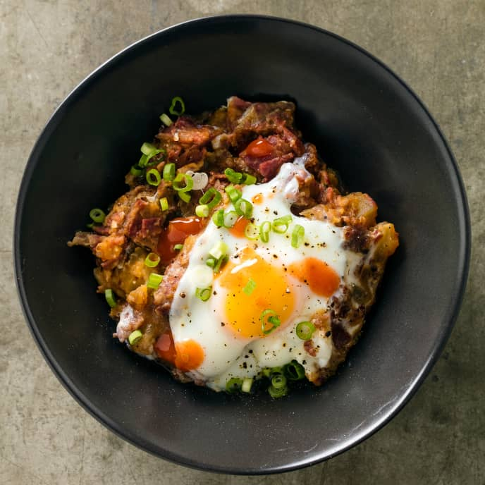 Slow-Cooker Corned Beef Hash with Poached Eggs