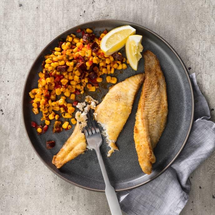 Cornmeal Catfish and Southwestern Corn