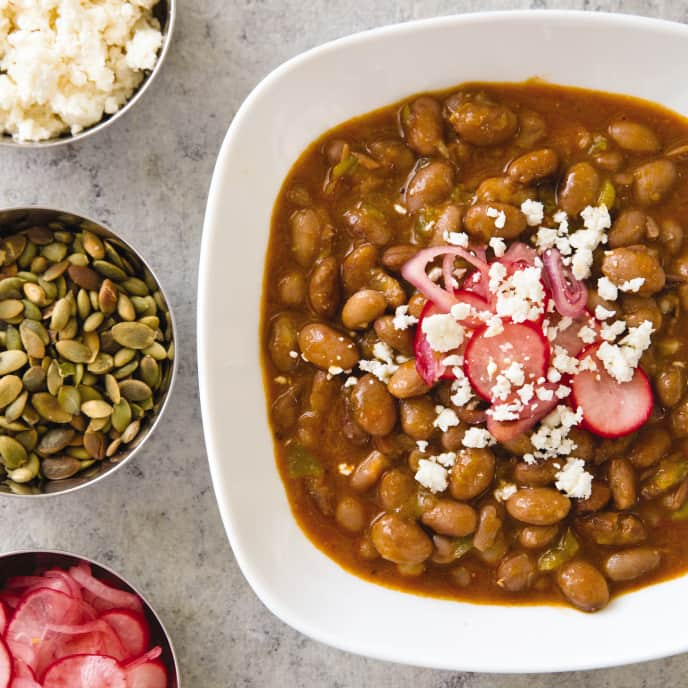 Cranberry Beans with Tequila, Green Chiles, and Pepitas