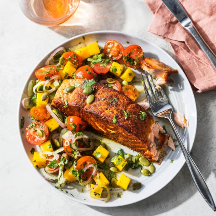 Spiced Crispy-Skinned Salmon with Tomato-Mango Salad for One