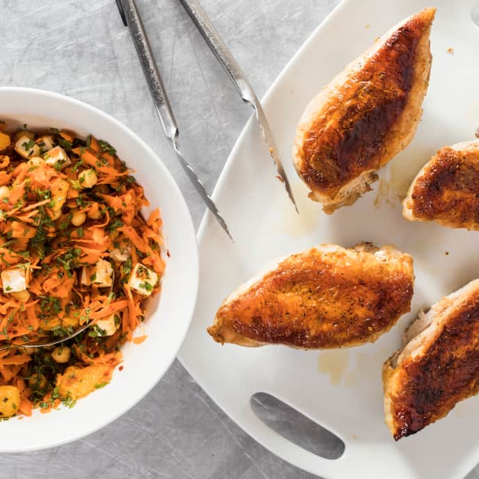Crispy Chicken with Spicy Carrot Salad