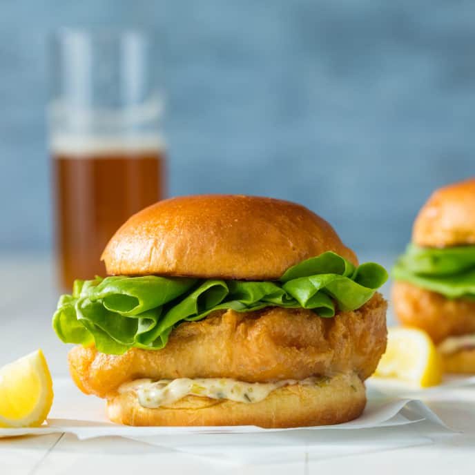 Crispy Fish Sandwiches with Tartar Sauce for Two
