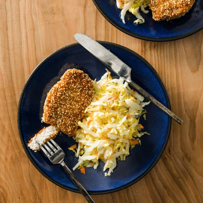 Crispy Sesame Pork Chops with Wilted Napa Cabbage Salad for Two