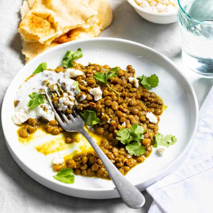 Curried Lentils for One