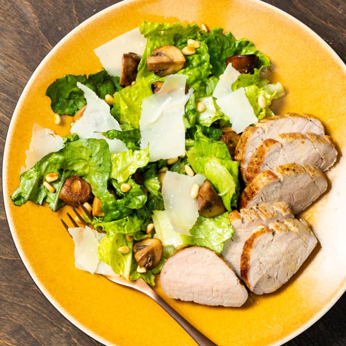 Roasted Pork Tenderloin with Romaine and Cremini Salad