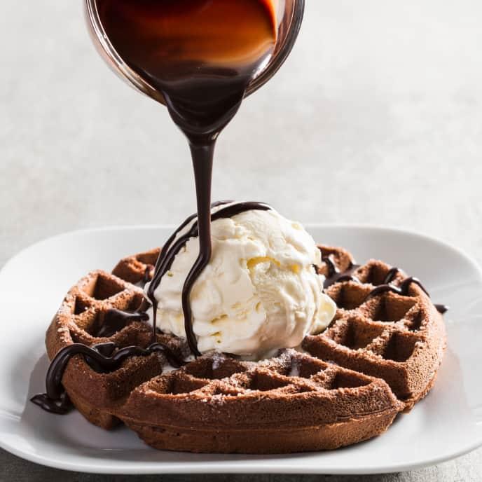 Double Chocolate Dessert Waffles with Ice Cream