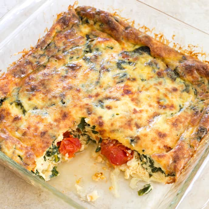 Egg Gratin with Swiss Chard and Cherry Tomatoes