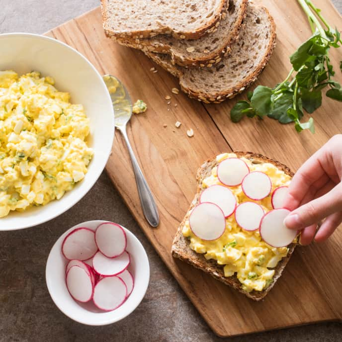 Egg Salad Sandwich with Radishes and Watercress