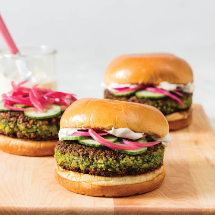 Falafel Burgers with Tahini-Yogurt Sauce