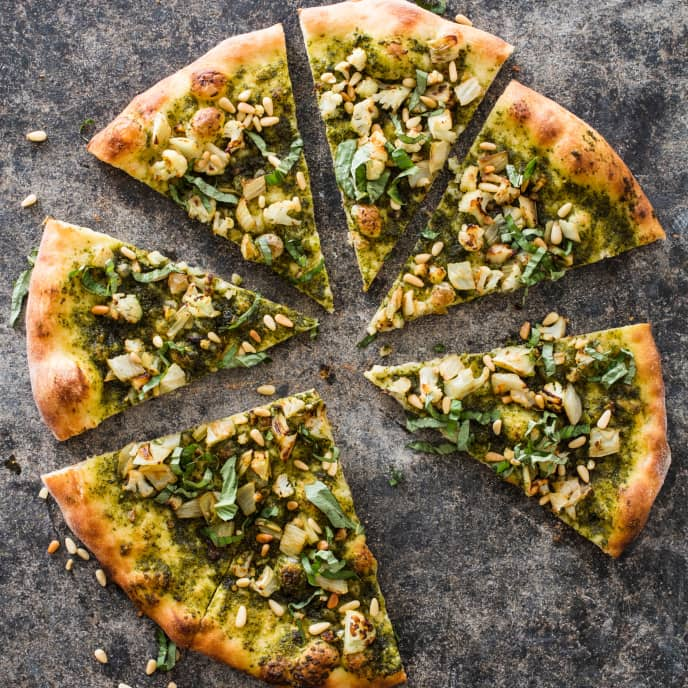 Vegan Pesto Pizza with Fennel and Cauliflower