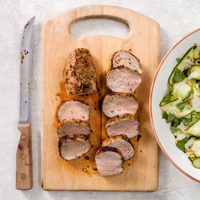 Fennel-Rubbed Pork Tenderloin with Zucchini Ribbon Salad