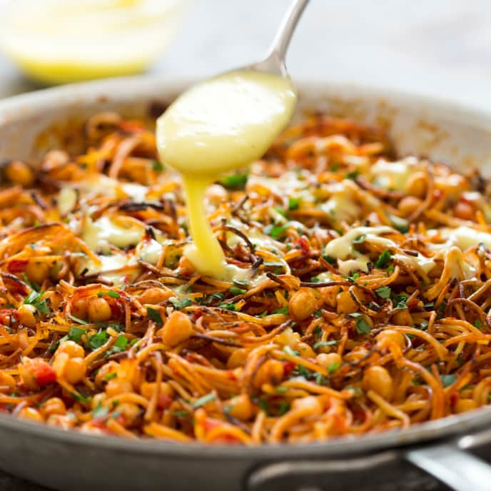 Fideos with Chickpeas and Aïoli