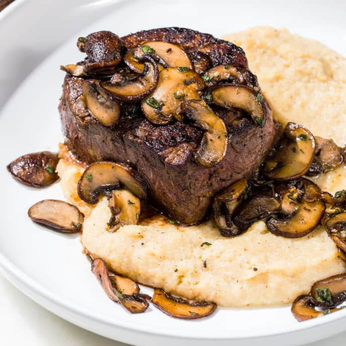 Filet Mignons with Sage-Buttered Mushrooms and Black Pepper Polenta