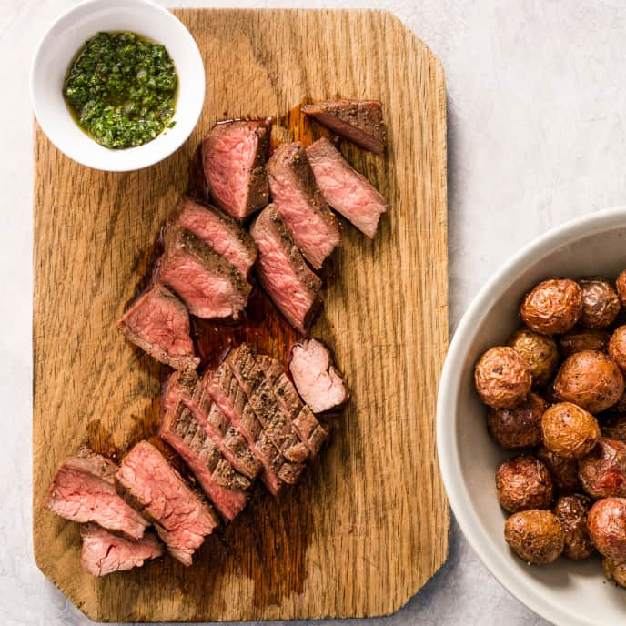 Air-Fryer Flank Steak with Roasted Potatoes and Chimichurri