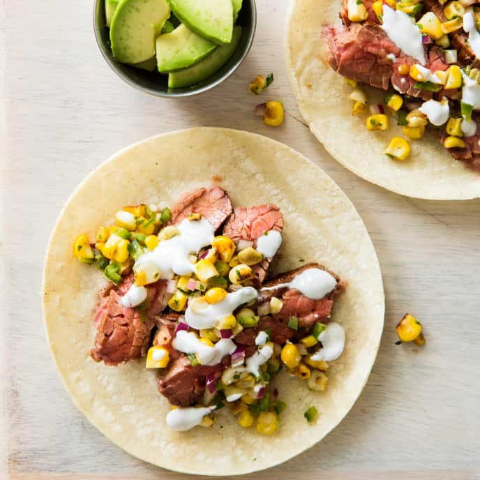 Cast Iron Flank Steak Tacos with Charred Corn Salsa