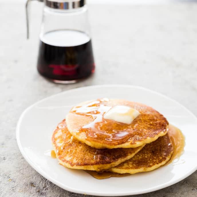 Cast Iron Fluffy Cornmeal Pancakes