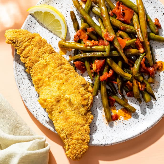 Fried Catfish with Bacon Green Beans