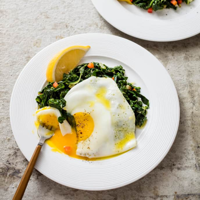 Fried Eggs over Garlicky Chard and Bell Pepper