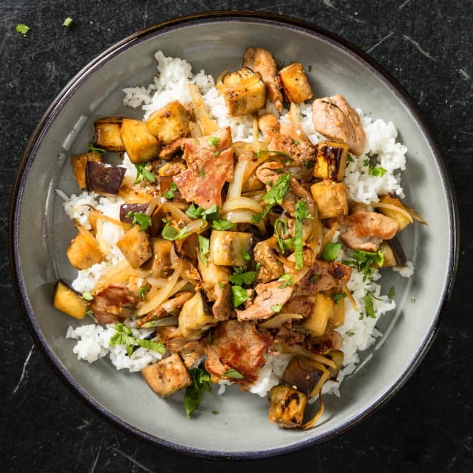 Garlicky Pork with Eggplant for Two